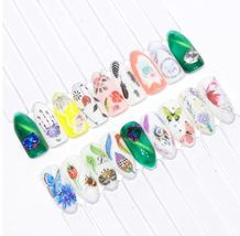 HS Store - 1pcs STZ-629 Beautiful Black White Feather Nail Art Decal Stickers image 3