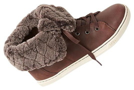 $150 Ugg Genuine Shearling High Top Sneakers 6.5 - 7.5 Espresso Brown Sh... - $134.11