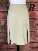 Anne Klein Skirt 14 Petite Khaki Tan Stretch Knee Pleated A Line Modest ... - $29.97