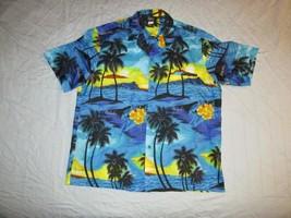 Royal Creations Button Up Hawaiian Shirt Made In Hawaii Sz L Sunset Palm... - $19.98