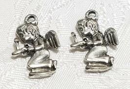 KNEELING ANGEL FINE PEWTER PENDANT CHARM - 13mm L x 21mm W x 2.5mm D