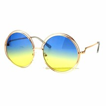 Womens Oversized Sunglasses Rose Gold Metal Wire Round Frame Ombre Color Lens - $12.95