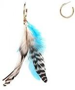 Bohemian Peacock Feather Dangle Drop Hoop Earrings For Women Vintage En... - $26.64