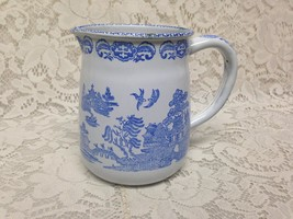 Vintage, Rare, England, Enamelware, Blue Willow Pitcher 6in W x 5in T - $75.95