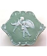 Schafer Vater Jasperware Box, Bisque Porcelain, Bas Relief Cherubs, Vintage - $58.00