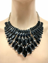 Bib Statement Necklace Earrings Black Acrylic Rhinestones Drag Queen Pag... - $21.85