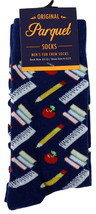 School Teacher Mens Novelty Crew Socks Casual Cotton Blend Fun Blue Sock... - $12.95