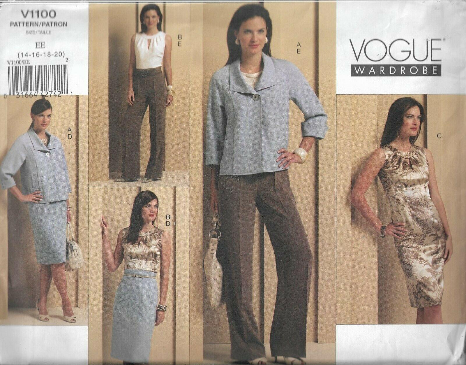 Plus Sz VOGUE Wardrobe Pattern #V1100-Misses Jacket-Top-Dress-Skirt-Pants 14-20