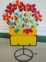 Anne Nye Large Fused Art Gallery Glass Flower Pot Bouquet w/ Stand Signed - $38.12
