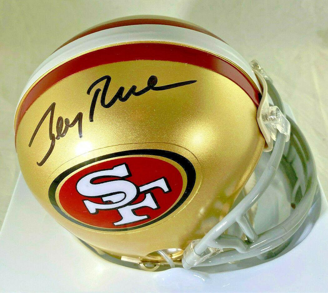JERRY RICE / NFL H.O.F / AUTOGRAPHED SAN FRANCISCO 49ERS MINI HELMET / RICE HOLO