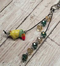 Toucan Yellow Green Crystal Beaded Handmade Purse Planner Charm Keychain... - $14.54