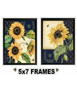 5x7 Sunflower & Bee Pictures Yellow Country Flowers Floral Wall Hangings - $8.99+
