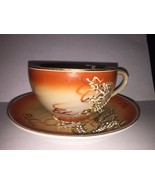 VINTAGE OCCUPIED JAPAN CUP & SAUCER DRAGON hand painted Rare Cool - $18.69