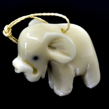 Hand Carved Tagua Nut Carving Hanging Elephant Ornament Made in Ecuador - $24.74