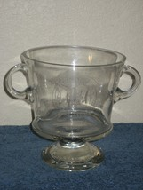 "Leaded Crystal Clear Glass 2 Handled Trophy Vase Bowl on Pedestal 7.5"" Tall - $20.53"