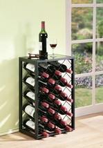 Black Finish Metal Wine Rack Holds 23 Bottles Glass Table Top Display St... - $87.02