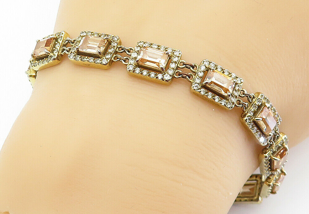 925 Sterling Silver - Vintage Imperial Topaz Gold Plated Chain Bracelet - B6064