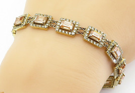 925 Sterling Silver - Vintage Imperial Topaz Gold Plated Chain Bracelet - B6064 image 1
