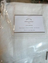 Pottery Barn Set 2 Emery Drape White 100x84 Curtain Cotton Lined Doublewide Pair - $362.46