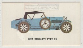 1927 Bugatti Type 43 2.3 Litre o.h.c. Straight 8 Car Auto Vintage Trade ... - $7.83