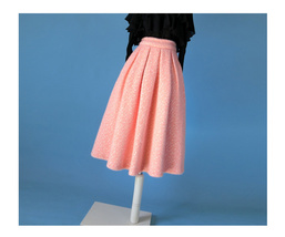 Women Winter Warm Wool Skirt Midi Full Pleat Skirt Winter Party Skirt,BLUSH PINK image 4