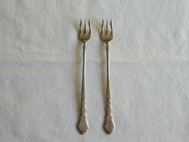 "Lot of 2 Oneida Satinique Seafood Cocktail Forks 6"" Stainless Community Flatware - $11.99"