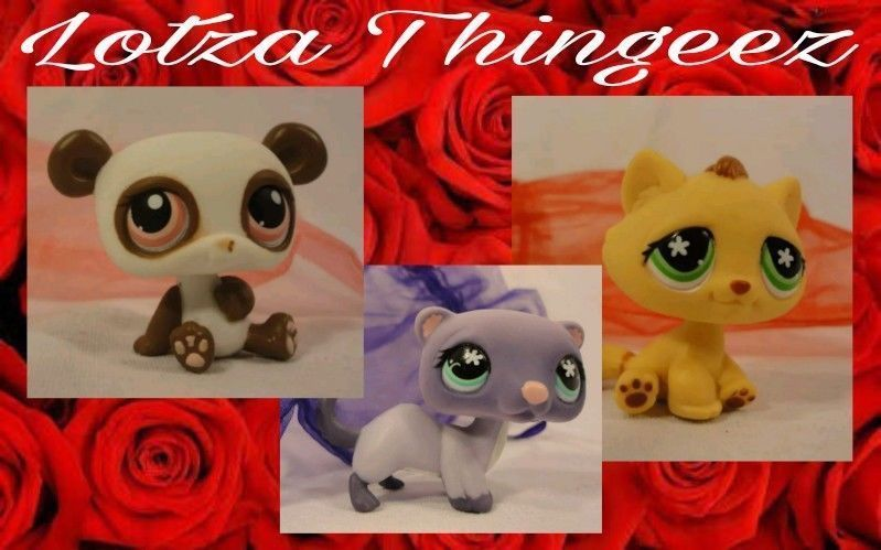 Hasbro Littlest Pet Shop Tabby #747 Ferret #482 Panda #414