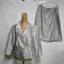 Isabella 2-Piece Suit Outfit Skirt Jacket Size 18 Silver Lined Career - $42.73