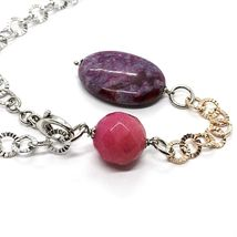 Necklace Silver 925 Pink, Jade Purple Oval, Chain Rolo ' Hammered image 3