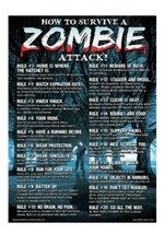 How to survive a zombie attack Funny Tin Sign Room Decoration - $12.85