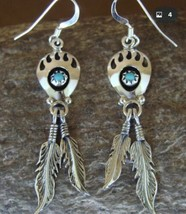 Navajo Sterling Silver Shadowbox Turquoise Bear Claw Feather Earrings [E... - $17.75