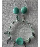 Jade Bracelet Earrings Set Handmade Jewelry Women - $8.99