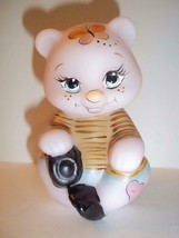 Fenton Glass NFGS Spring Limited Edition Pink Bear with Dog #14/25 Kim B... - $125.13