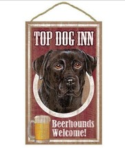 """Top Dog Inn Beerhounds Black Lab Bar Sign Plaque dog 10""""x16""""  Beer Labrador - $21.95"""
