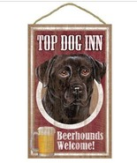 "Top Dog Inn Beerhounds Black Lab Bar Sign Plaque dog 10""x16""  Beer Labrador - $21.95"