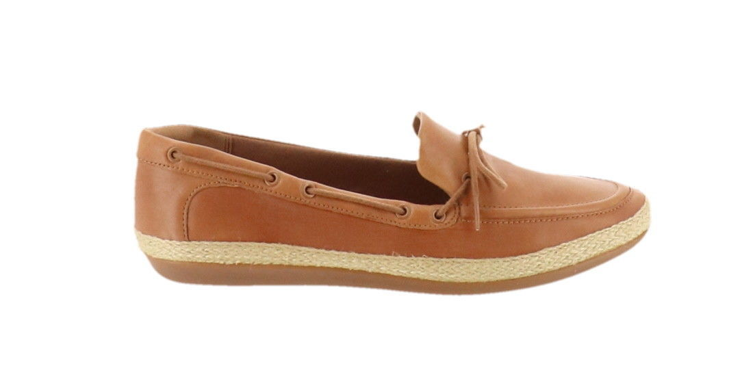 Clarks Leather Espadrille Slip-On Shoes Danelly Bodie Light Tan 9M NEW A306379
