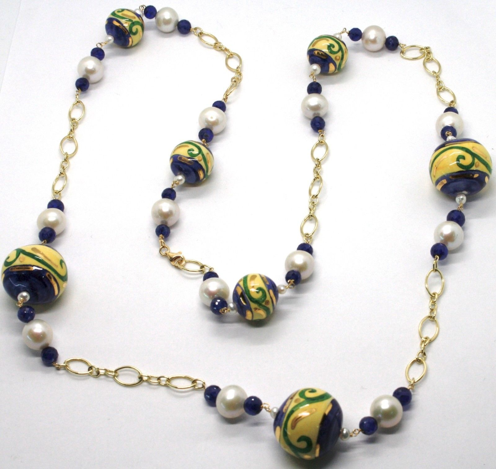 18K YELLOW GOLD LONG NECKLACE BLUE SAPPHIRE CERAMIC SPHERE HAND PAINTED IN ITALY