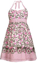 Bonnie Jean Little Girl 2T-6X Pink Floral Border Print Halter Dress