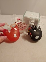 Glass Chicken Hen Black White Kitchen Christmas Tree Ornament handpainte... - $20.56