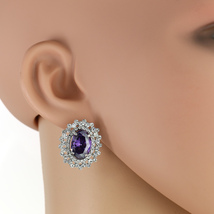 UNITED ELEGANCE Spectacular Faux Amethyst & Swarovski Style Crystals Earrings - $24.99