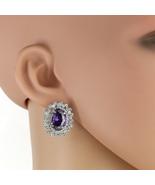 UNITED ELEGANCE Spectacular Faux Amethyst & Swarovski Style Crystals Ear... - $24.99