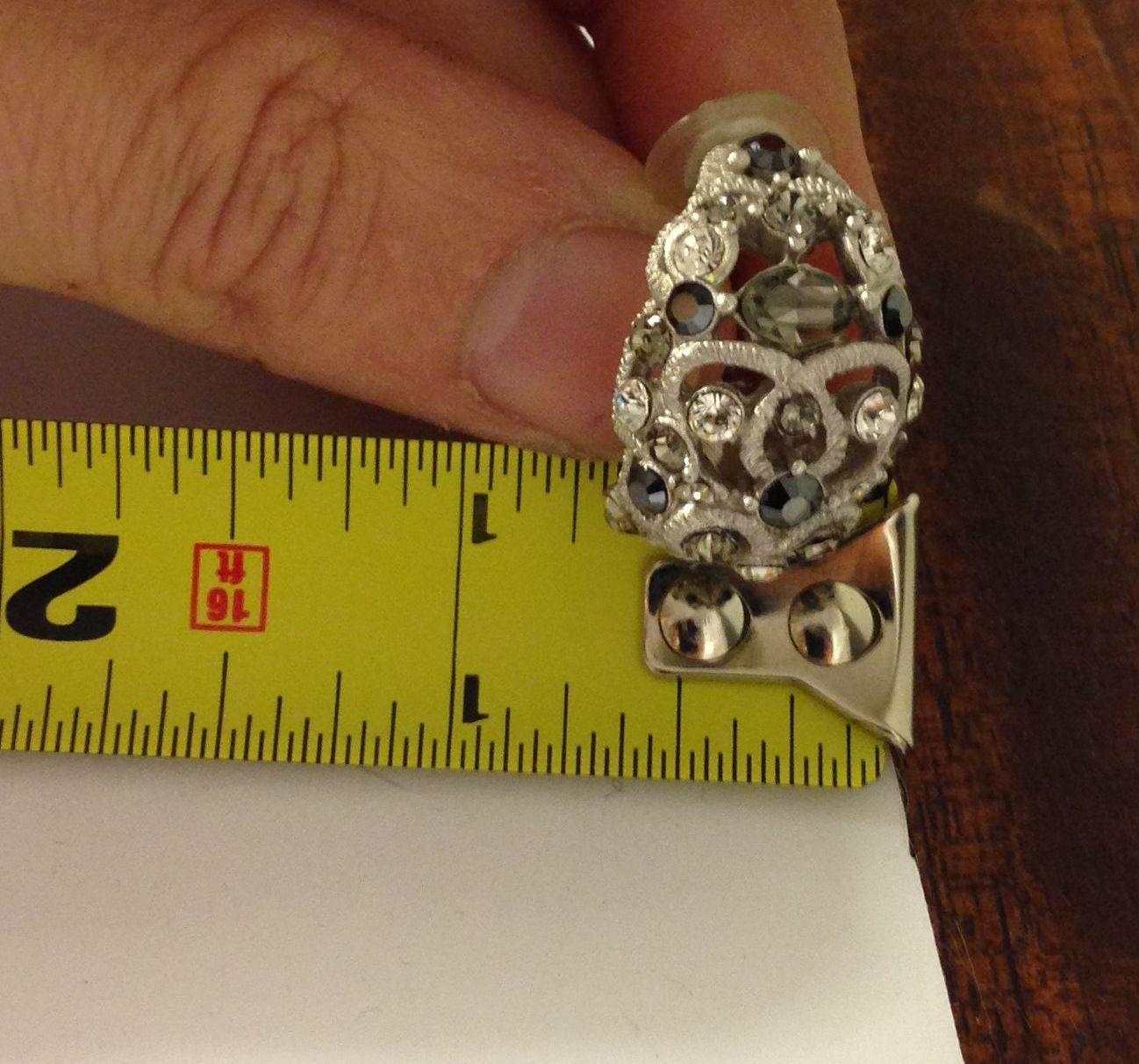 VTG Silvertone Filigree *Smoke/Black/Clear Rhinestones Cluster Pierced Earrings image 8