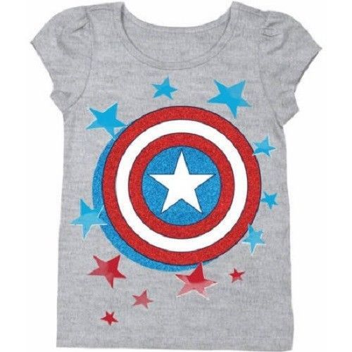 Marvel Captain America Toddler Girls T-Shirts Size 3T or 4T NWT