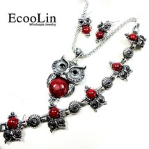 EcooLin Jewelry Hot Sale Vintage Antique Silver Red Owl Stone Necklace P... - $10.60