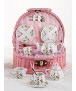 Porcelain Tea Set with Pink Basket, Service for 2, Bird with house - €33,79 EUR