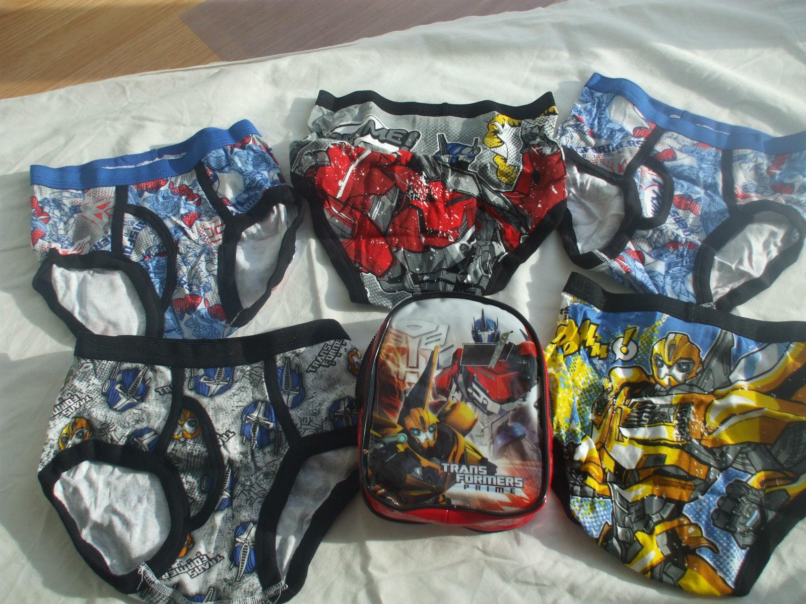 5 Pcs Transformers Underwear Boys Briefs Size 8 100% Cotton