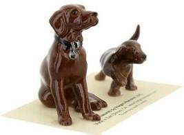 Hagen Renaker Dog & Puppy Labrador Retriever Chocolate Ceramic Figurine Set
