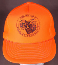 Vtg Colorado Wildlife Federation Hat-Orange-Rope Bill-Snapback-Ram Bigho... - $32.71