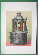EBONY CABINET Parisian Work France - 1862 VICTORIAN Color Print - $16.20