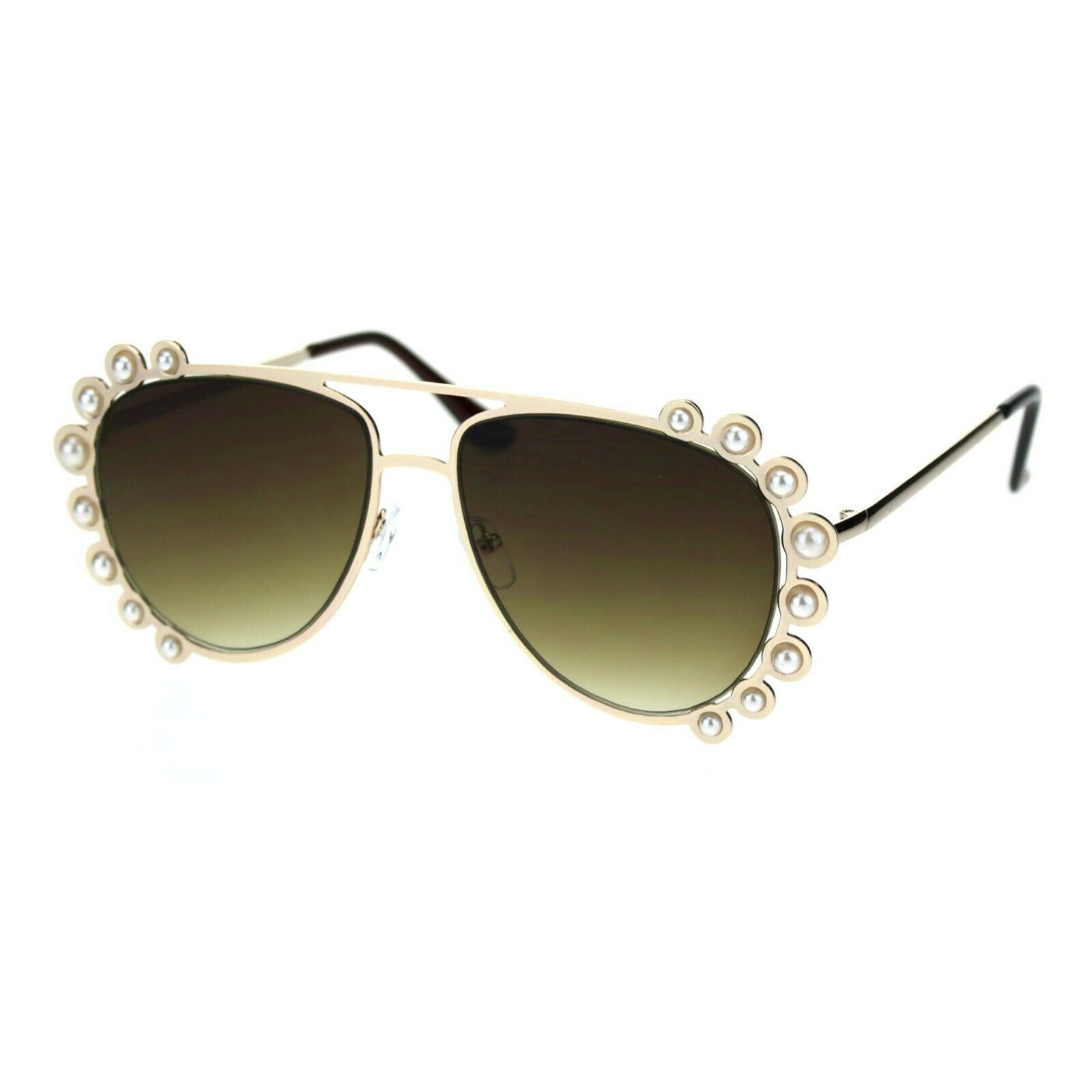 Pearl Studded Aviator Sunglasses Womens Fashion Shades UV 400